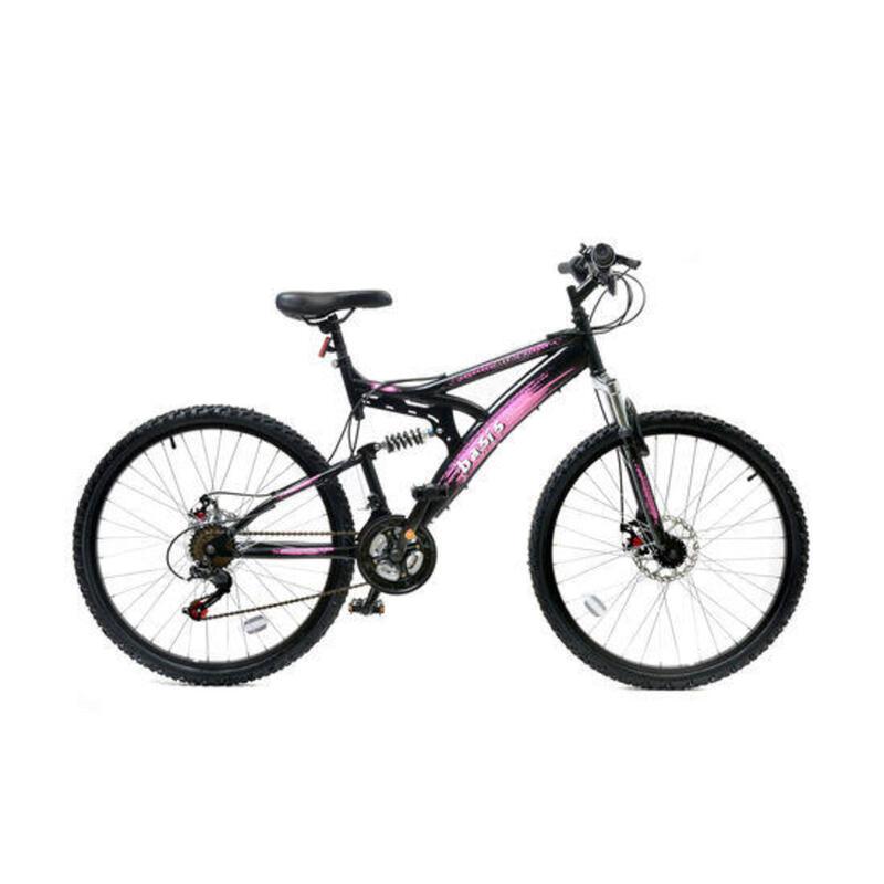 Basis 1 Full Suspension Mountain Bike - 26in Wheel - 18 Speed Black Pink