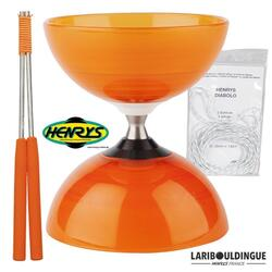 Diabolo Beach à roulement - Orange + Bag. Alu Orange + 5m ficelle