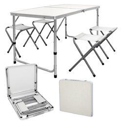Verstelbare opklapbare kampeertafel 4 aluminium tuinkrukken 120cm wit / crème