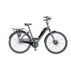 E-bike avec porte-bagage arrière, batterie avec port USB. 3 speed, 9ah, noir mat