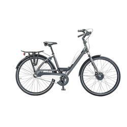 E-bike avec porte-bagage arrière, batterie avec port USB.7 speed, 9ah, blanc