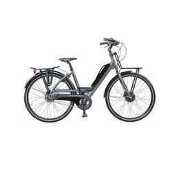 Urban e-bike: voor en achterdrager, accu met usb aansluiting. 5 speed 9ah, zwart