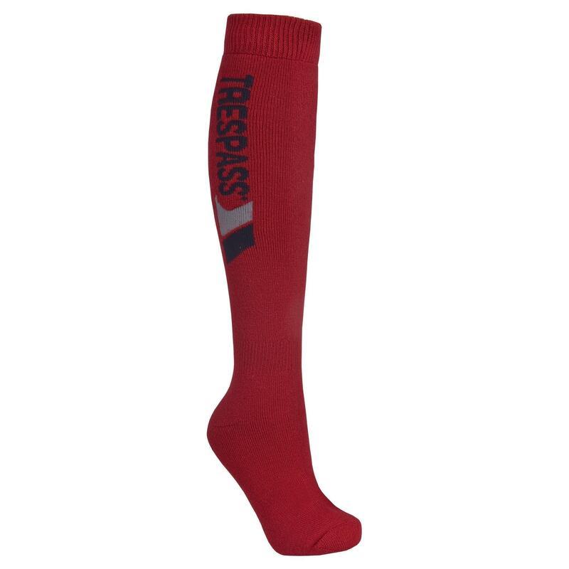 Volwassen Unisex Tech Luxe  Merino Wollen Hoge Skisokken (Rood)