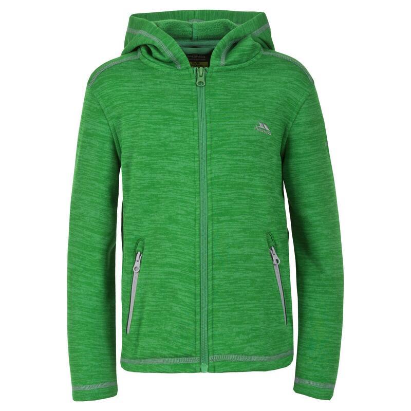 Childrens Boys Shaw Full Zip Hooded Fleece Jacket (Klaver mergel)
