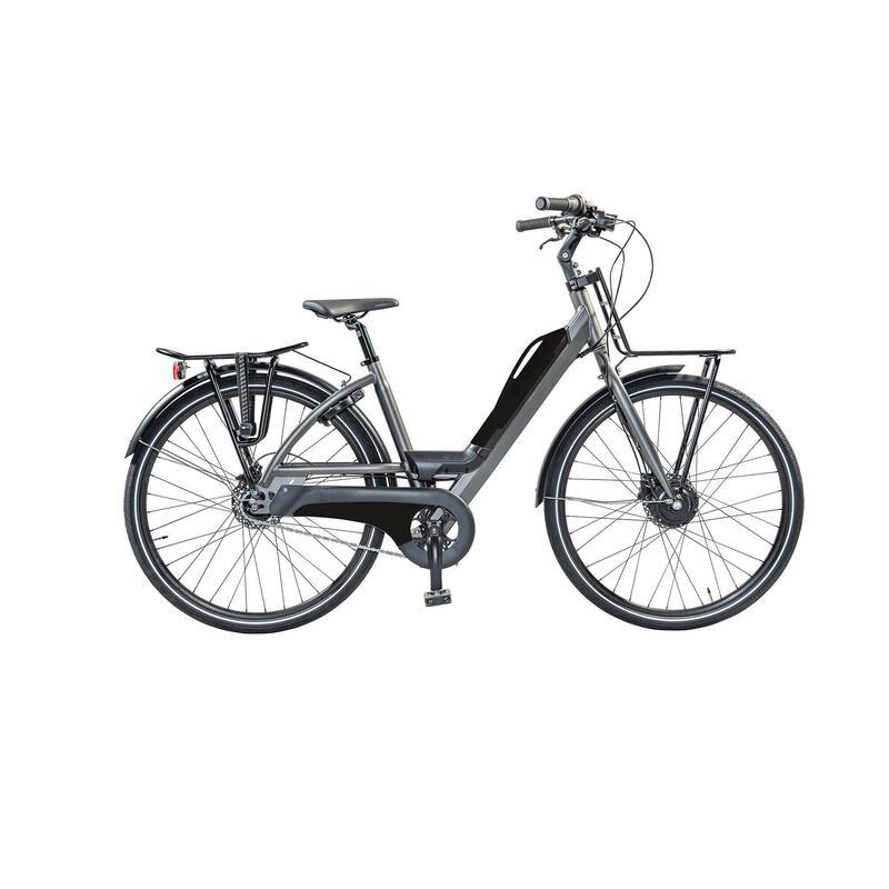 Urban e-bike: voor en achterdrager, accu met usb aansluiting. 7 speed 9ah, zwart