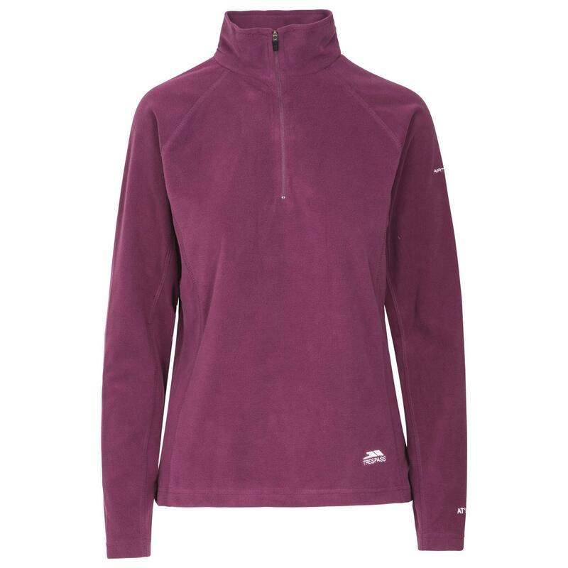 Reflecterende Microfleece Shirt met Halve Rits voor Dames (Paars)