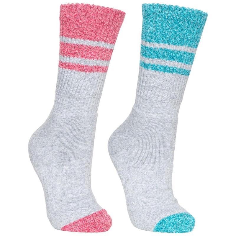 Dames/dames Hadley Wandelschoenen Sokken (2 paren) (Marl/Frambozen Marl)