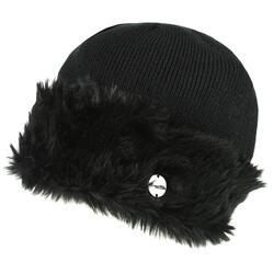 Dames Luz Muts met Imitatiebont van Katoen Winter Beanie Muts (Zwart)