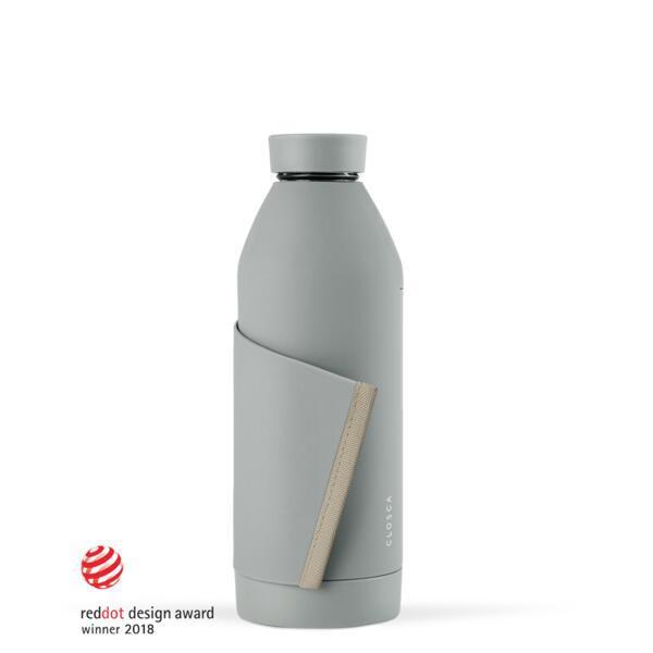 Bouteille d'eau en verre 420 ml. (Closca Bottle) Gris