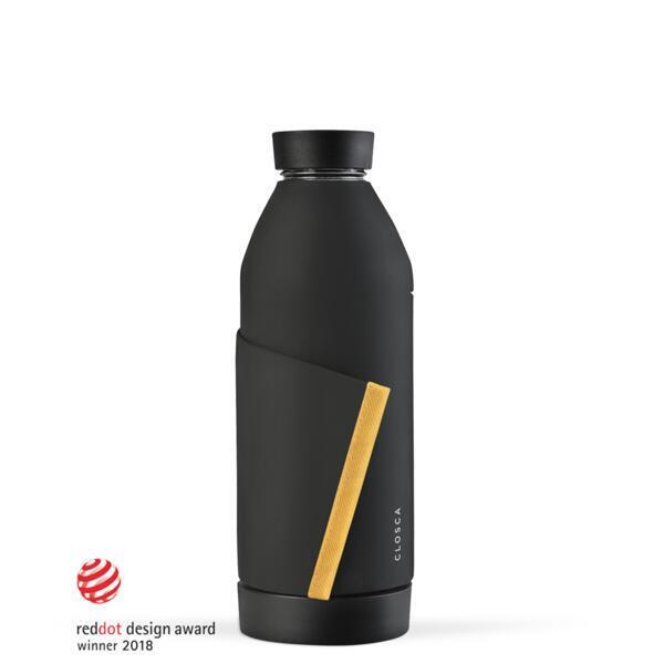 Botella de agua de vidrio de 420 ml.(Classic Bottle) Negro