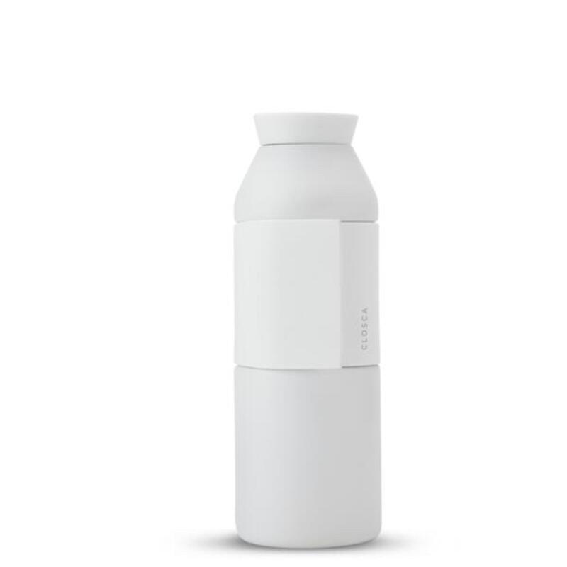 Borraccia in acciaio inox da 450 ml. (Bottle Wave) Bianco