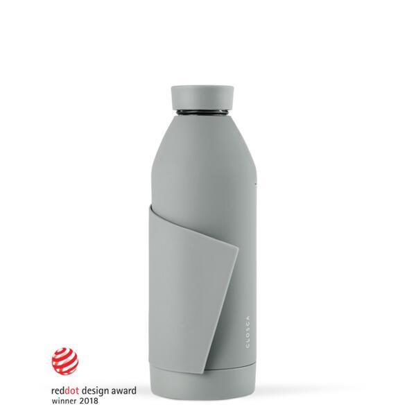 Botella de agua de vidrio de 420 ml.(Classic Bottle) Gris
