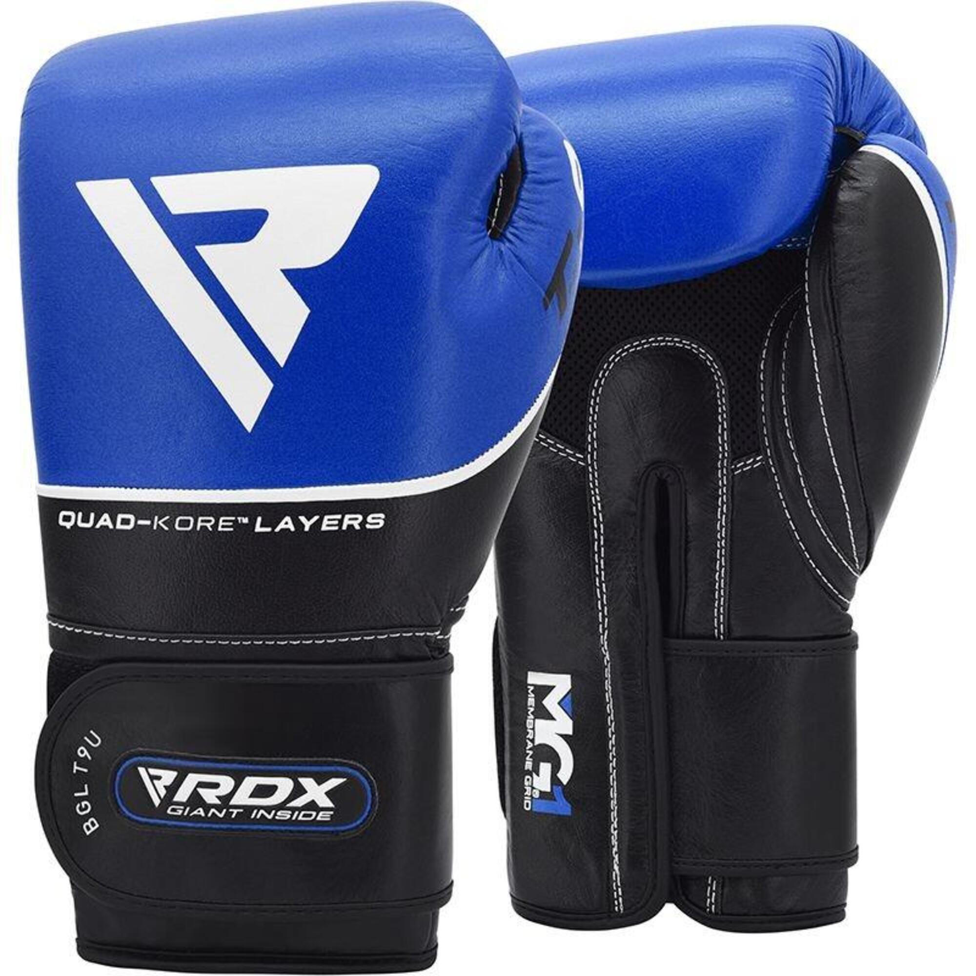 RDX Gants de boxe Cuir T9 - Bleu -  12oz