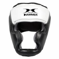 Hammer Boxing HOOFDBESCHERMER Sparring - leer - Zwart/Wit -  S/M