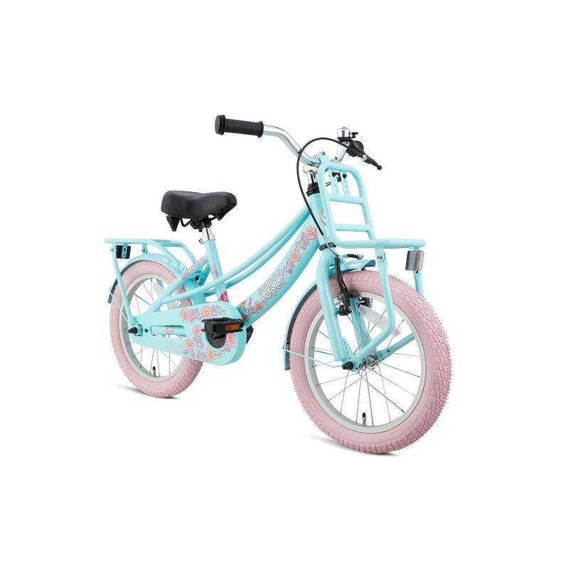 Vélo pour enfants Supersuper Lola - Filles - 16 pouces - Menthe / Rose