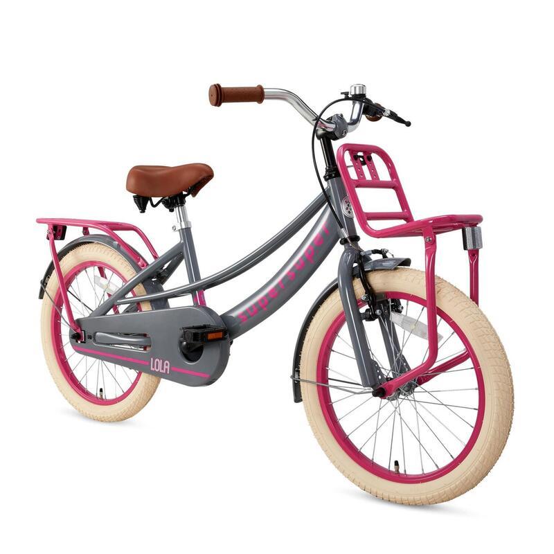 Vélo pour enfants Supersuper Lola - Filles - 18 pouces - Gris / Rose