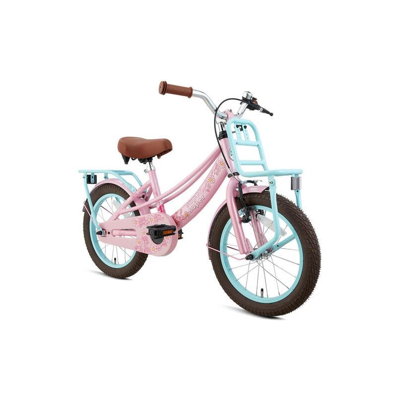 Vélo pour enfants Supersuper Lola - Filles - 16 pouces - Turquoise / Rose