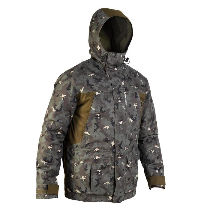 VESTE CHASSE IMPERMEABLE CHAUDE 500 CAMOUFLAGE ISLAND VERT