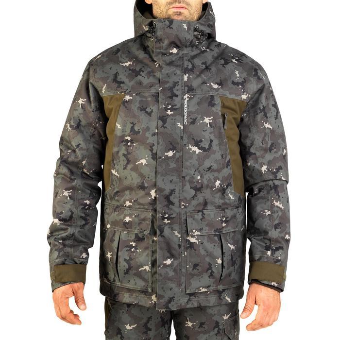 Jagd-Regenparka warm 500 Camouflage Island grün