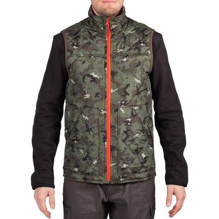 Padded hunting gilet 100 camouflage - green - 1000551