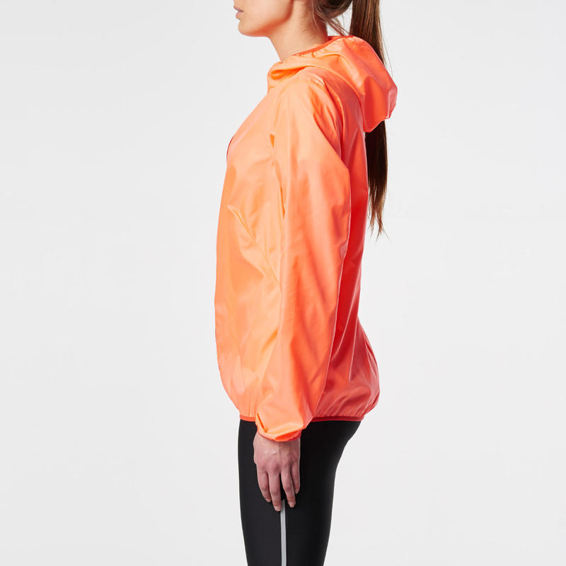 veste coupe vent jogging femme run wind corail fluo. Black Bedroom Furniture Sets. Home Design Ideas