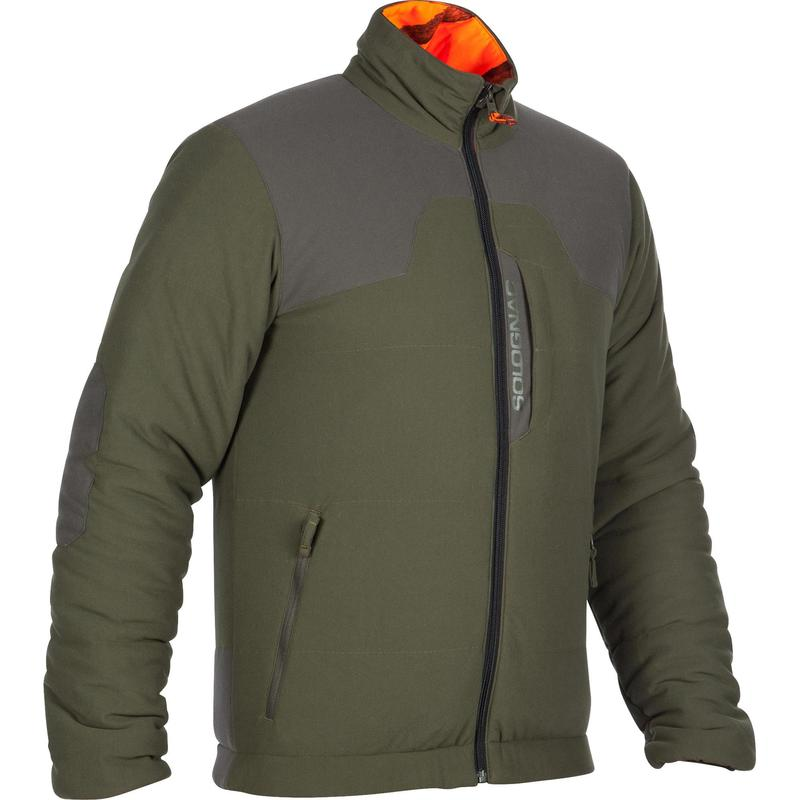 Quilted Hunting Jacket 500 Camouflage Fluo Solognac