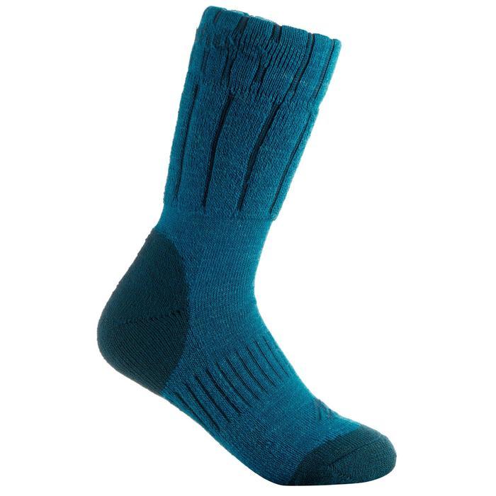 Chaussettes de randonnée neige junior SH100 warm mid gris bleues. - 1001190