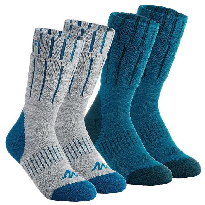 Chaussettes de randonnée neige junior SH100 warm mid gris bleues. - 1001195