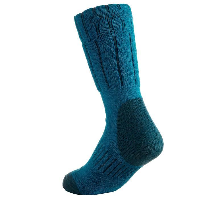 Chaussettes de randonnée neige junior SH100 warm mid gris bleues. - 1001201