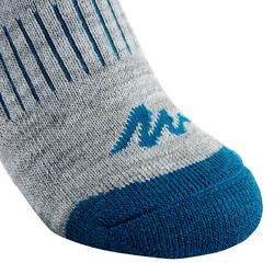 SH100 Warm Mid Junior Snow Hiking Socks - Grey/Blue.