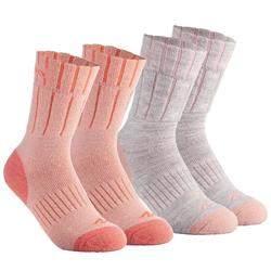 SH100 青少年健行保暖中筒襪-珊瑚紅/灰色。