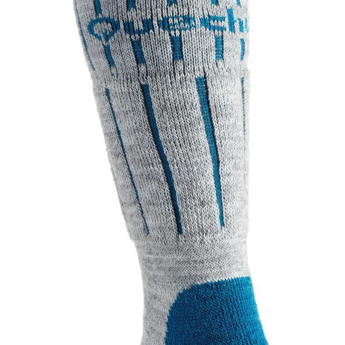 Chaussettes de randonnée neige junior SH100 warm mid gris bleues. - 1001209