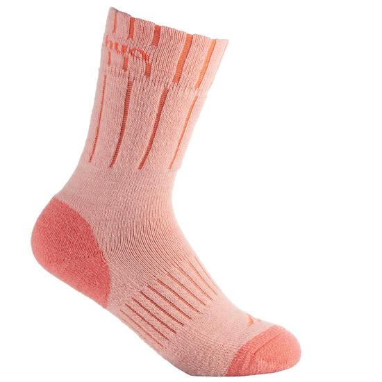2 paar sokken Arpenaz Warm voor winterse trektochten, grijs en koraal - 1001220