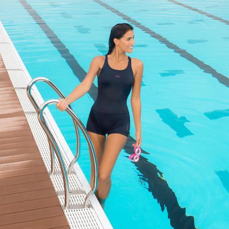 maillot de bain de natation forme shorty une pi ce femme leony bleu fonc nabaiji. Black Bedroom Furniture Sets. Home Design Ideas