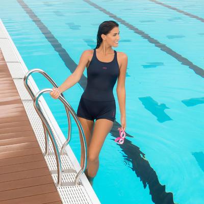 Leony Women's One-Piece Legsuit Shorty Swimsuit - Dark Blue