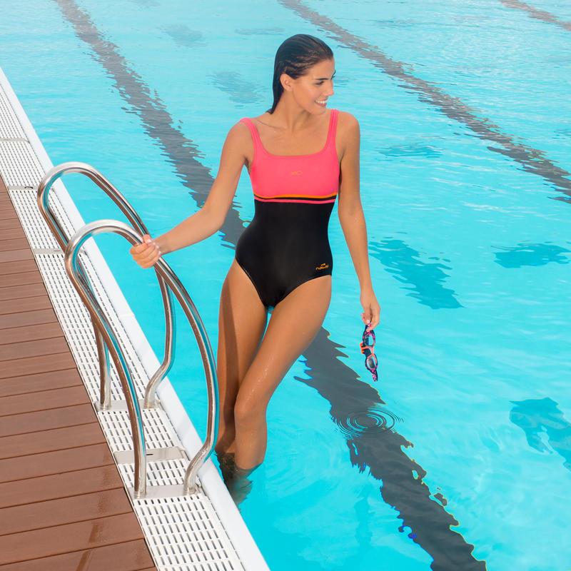 Traje de baño de natación una pieza mujer Loran Negro Rojo coral