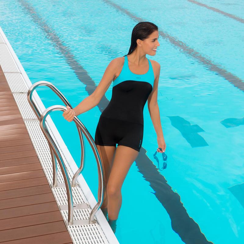 Traje baño natación forma traje corto una pieza para mujer Leony cut Negro Azul
