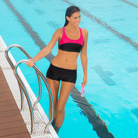 Leony Swimming Crop Top - Black and Pink