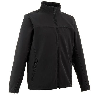 Men's Mountain Trekking Softshell Wind Jacket - TREK 100 WINDWARM - Black