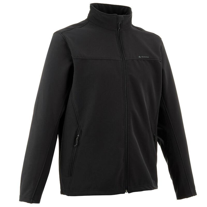 Softshell chaude coupe vent de trek montagne - TREK 100 WINDWARM noir - homme