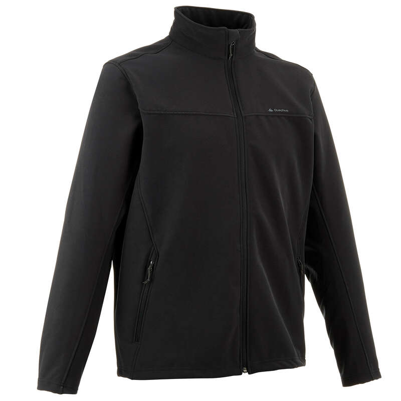 MEN SOFTSHELL, WINDBREAKER MT Trekking - Forclaz 100 Men's Warm Softshell Jacket - Black FORCLAZ - Trekking