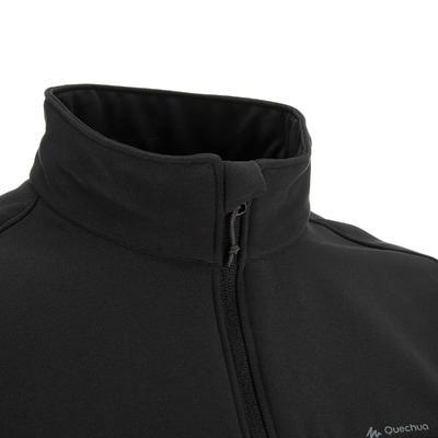 Men's Mountain Trekking Softshell Wind Jacket - TREK 100 WINDWARM - Black
