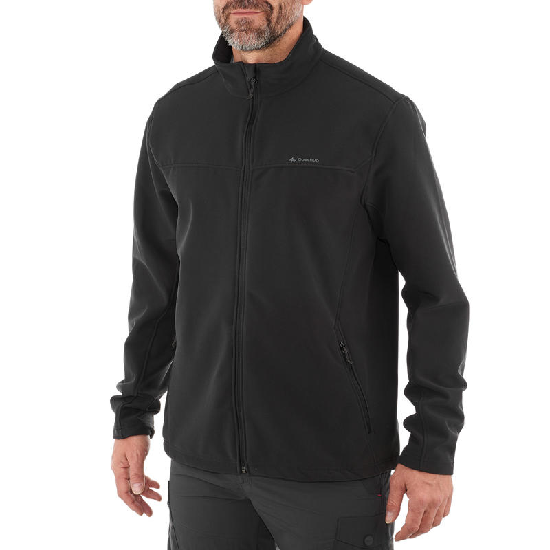 Men's Mountain Trekking Warm Softshell Wind Jacket Trek 100 Windwarm - Black