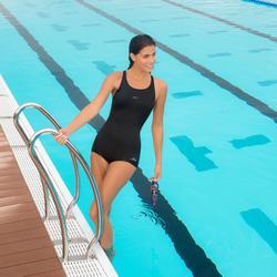 Bañador de natación forma shorty una pieza para mujer Leony azul oscuro