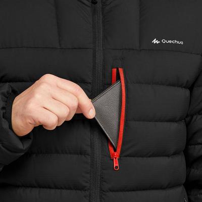 Chaqueta acolchada plumón trekking montaña confort -10 ºC TREK 500 negro Hombre