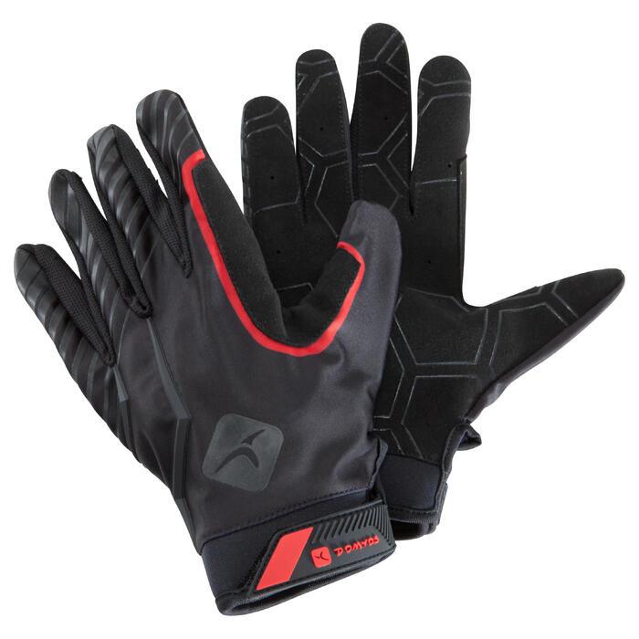 Guantes de crosstraining Domyos con dedos tapados negros y rojos