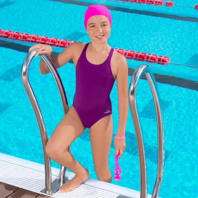 Vestido de baño enterizo de natación Leony niña morado
