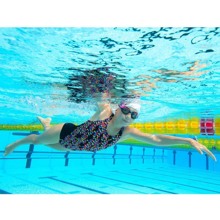 Bañador de natación una pieza para niña resistente al cloro Kamiye jely Negro