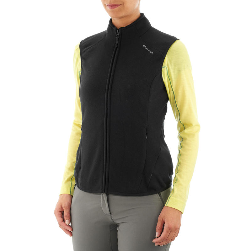MH120 Women's Mountain Hiking Fleece Gilet - Black