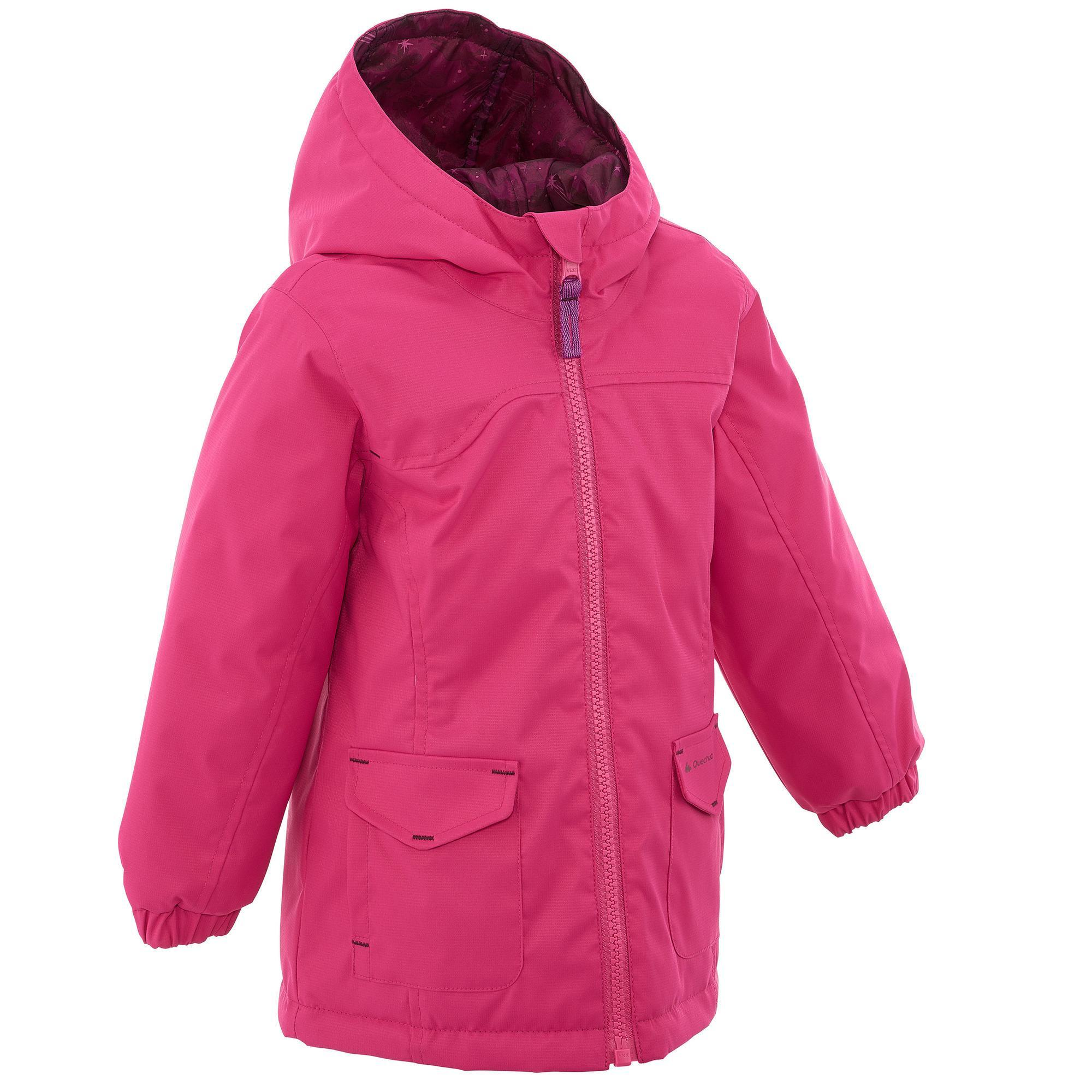 Hike 100 Girl's Hiking Warm Waterproof Jacket - Pink | Quechua